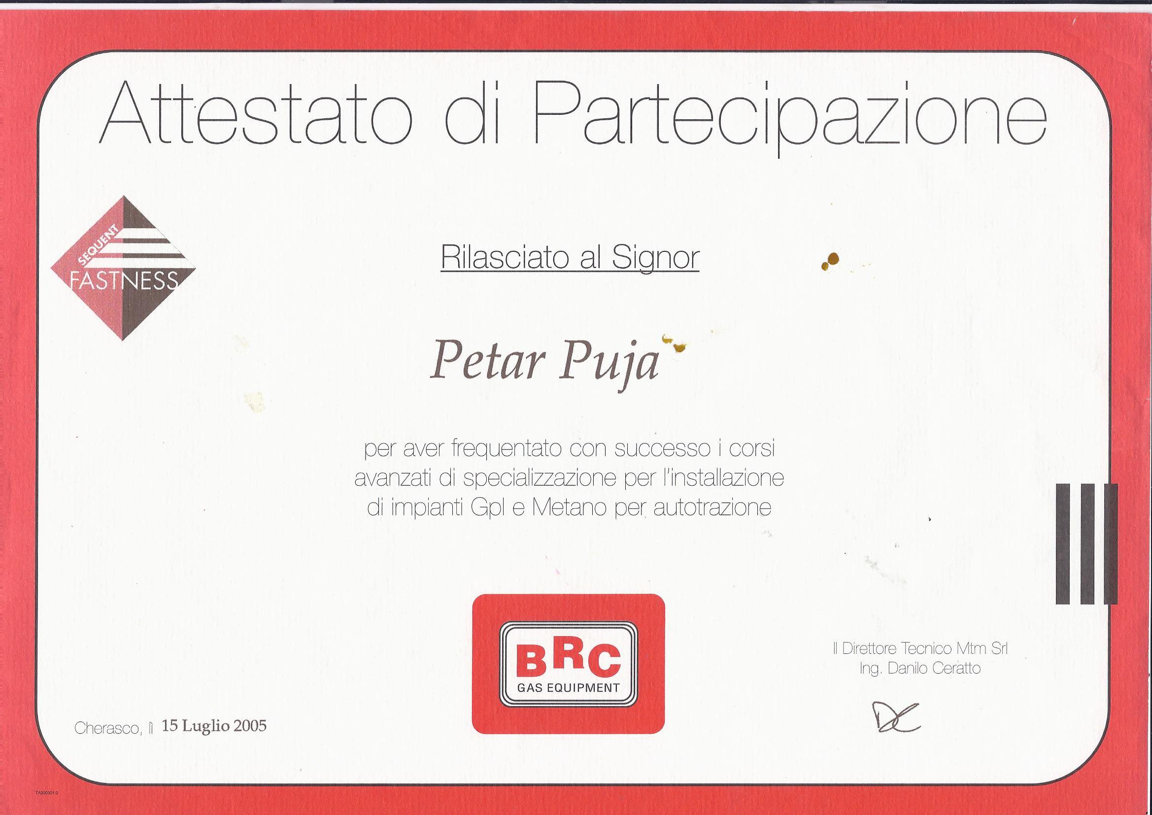 attestato di partecipazione BRC 2015-3